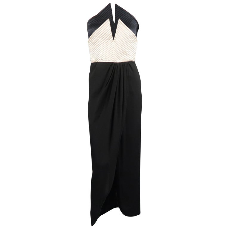 39b85b283c3 VALENTINO Size 6 Black   Cream Layered Quilted Busier Wrap Dress For Sale