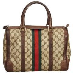 Gucci Brown Guccissima Web Boston Bag