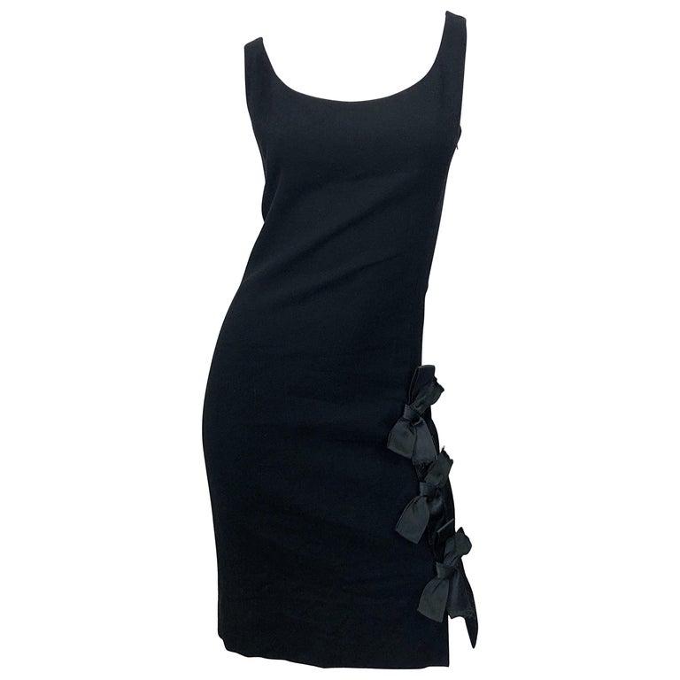 Geoffrey Beene 1960s Black Sleeveless Bow Detail Vintage 60s Wool Sheath Dress For Sale