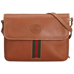 Gucci Brown Leather Web Crossbody Bag