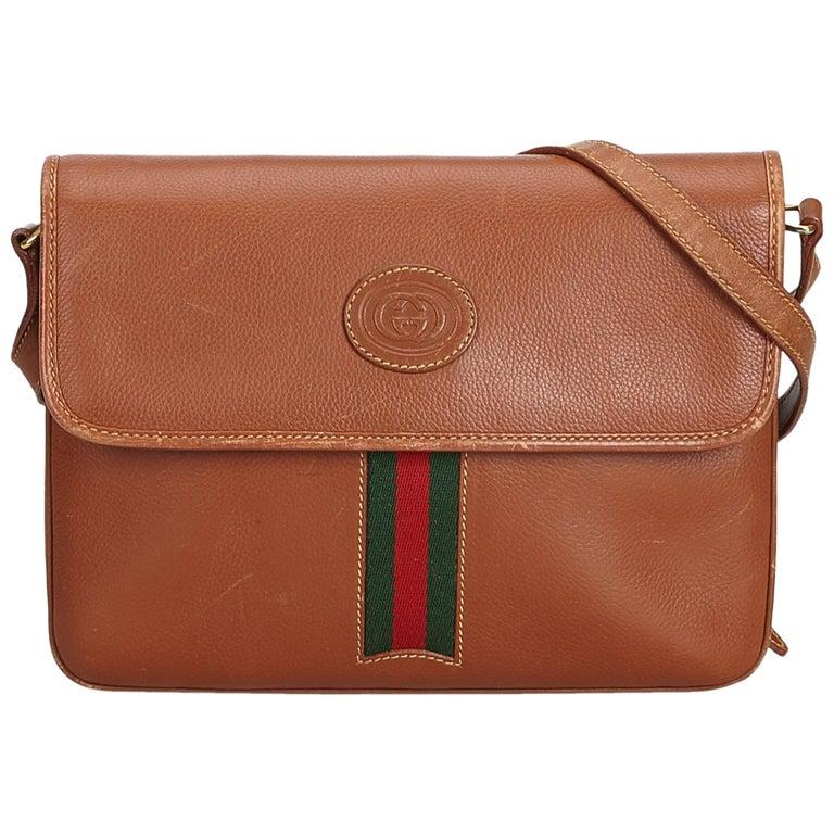5f7e0b80ebc Gucci Brown Leather Web Crossbody Bag at 1stdibs