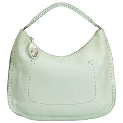 Fendi Green Leather Selleria Hobo Bag