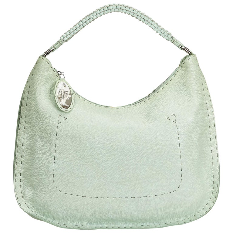 e950bda61b38 Fendi Green Leather Selleria Hobo Bag at 1stdibs