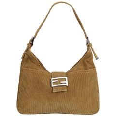 Fendi Brown Corduroy Shoulder Bag