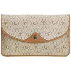 Dior Brown Honeycomb Coated Canvas Clutch Bag