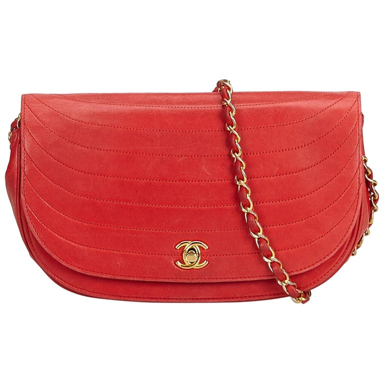 677c749487cc1b Chanel Red Lambskin Chain Shoulder Bag For Sale at 1stdibs