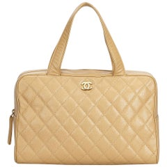 Chanel Brown Quilted Caviar Boston Bag