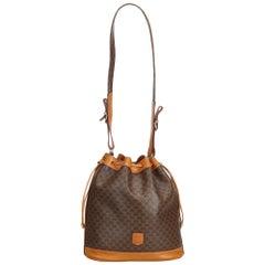 Celine Brown Macadam Drawstring Bucket Bag