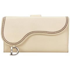 Dior White Leather Saddle Wallet