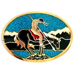 70'S Navajo Style Gilt Brass, Turquoise & Enamel Belt Buckle