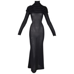 F/W 1998 Alexander McQueen Joan Sheer Black Knit L/S Catholic Gown Dress