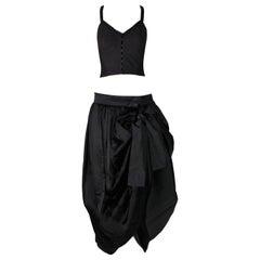 1992 Dolce & Gabbana Black Bustier Crop Top & Victorian Tulle Long Skirt Set