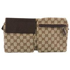 Gucci, Vintage Doppelband-Tasche GG Leinen