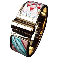 Hermès Charnière Hinged Bracelet Enamel Rose Ghw Savana Dance Baroque Size S