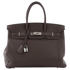 Hermes Birkin Handbag Chocolate Brown Togo with Palladium Hardware 35