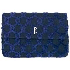 Roberta Di Camerino Blue Velvet Monogram Pochette Clutch Bag, circa 1970s