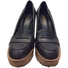 Yves Saint Laurent Black Leather Wedges