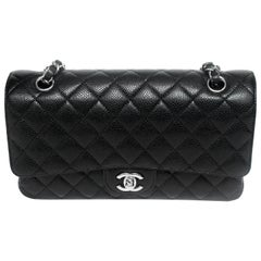 Chanel Black Quilted Caviar Medium Double Flap Bag