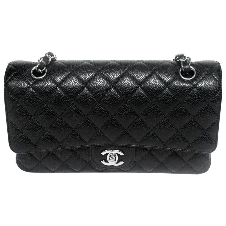 19fcaa246d4c Chanel Black Quilted Caviar Medium Double Flap Bag For Sale at 1stdibs