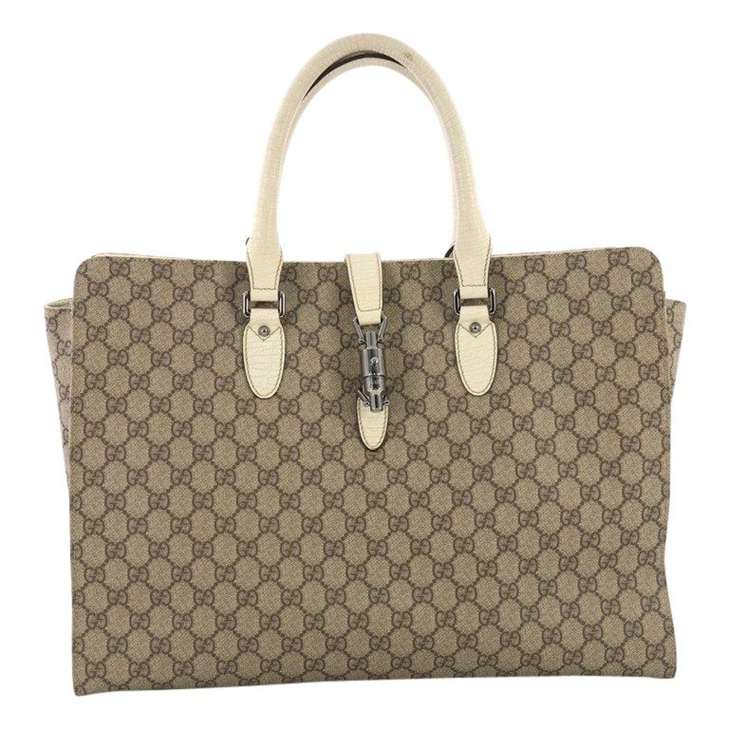 c0517b4d63c1 Gucci Jackie Soft Tote GG Coated Canvas Large at 1stdibs