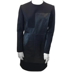 Celine Black Wool and Leather Dress NWT