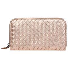 Bottega Veneta Rose Gold Woven Metallic Calfskin Leather Zip Around Wallet