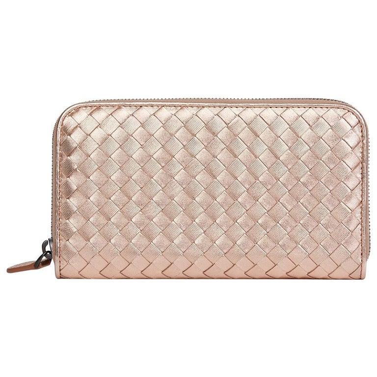 Bottega Veneta Rose Gold Woven Metallic Calfskin Leather Zip Around Wallet For Sale
