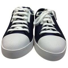 Prada Navy Blue Satin Sneakers NIB