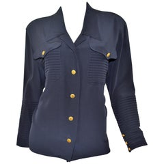 Vintage Chanel Navy Silk Blouse with Gold Clover Buttons