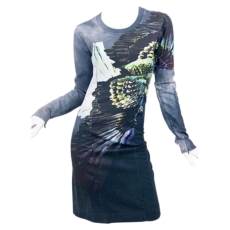 Maison Martin Margiela Eagle Print Long Sleeve Sweatshirt Novelty Dress