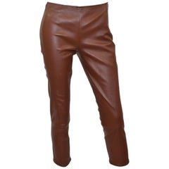 The Row Brown Lambskin Leather Pants
