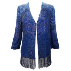 Vintage Navy Blue Fully Beaded Iridescent Fringed Silk 3/4 Sleeve Cardigan Top