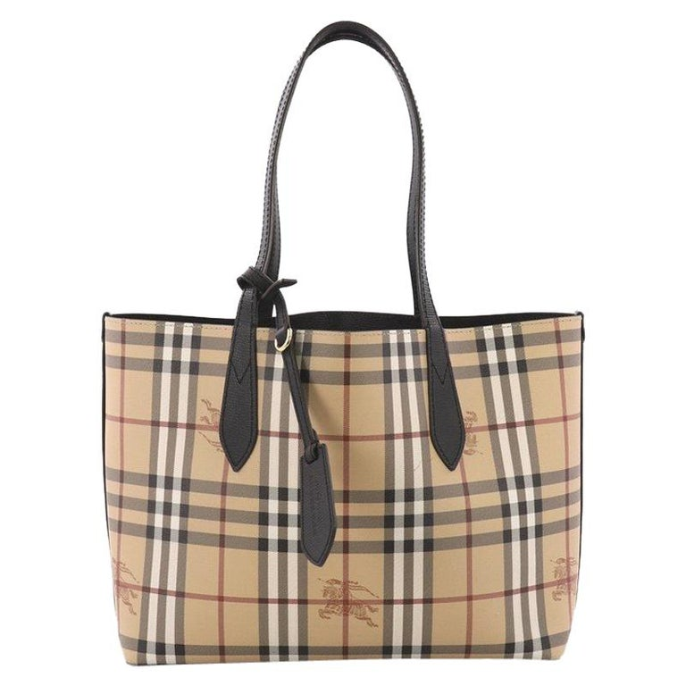 57d94dee5807 Burberry Reversible Tote Haymarket Coated Canvas and Leather Medium For Sale