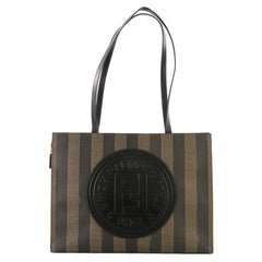 Fendi Pequin Shopping Tote Canvas and Leather Tall