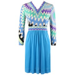 EMILIO PUCCI c.1960's Mod Op Art Signature Print Silk Jersey Knit Shift Dress
