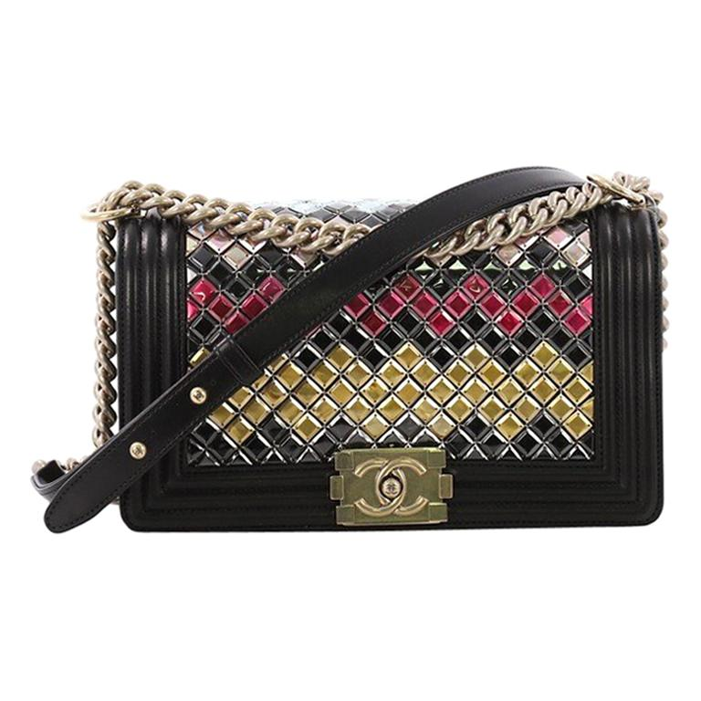 5a81ff71fc1d Chanel Mosaic Boy Flap Bag Embellished Lambskin Old Medium For Sale at  1stdibs