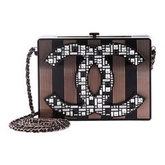 Chanel CC Minaudiere Clutch Strass Embellished Plexiglass