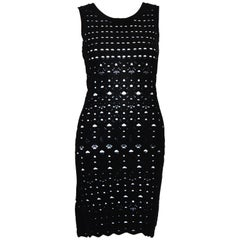 Chanel Black Pointelle Lace Sleeveless Dress Lined in White