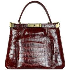 Vintage Burgundy Crocodile Frame Top Handle Bag