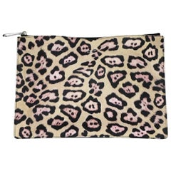 Givenchy Leopard Print Grained Leather Zip Top Clutch Bag