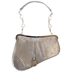 1990s Dior Mini Metallic Leather Silver Saddle Bag