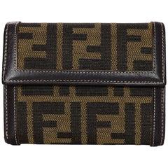 Fendi Brown Canvas Zucca FF Monogram Compact Wallet