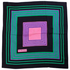 1970s Yves Saint Laurent YSL Pink Square Silk Scarf