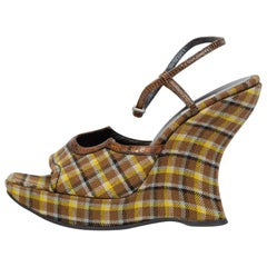 Prada Plaid Wedges with Lizard Trim size 40