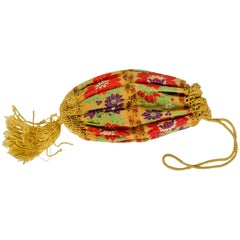 1920s or Older Folkloric Floral Ribbon Reticule Purse