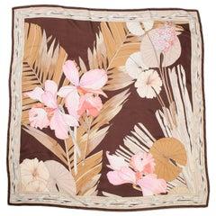 1970s Leonard Tropical Floral Bamboo Silk Scarf
