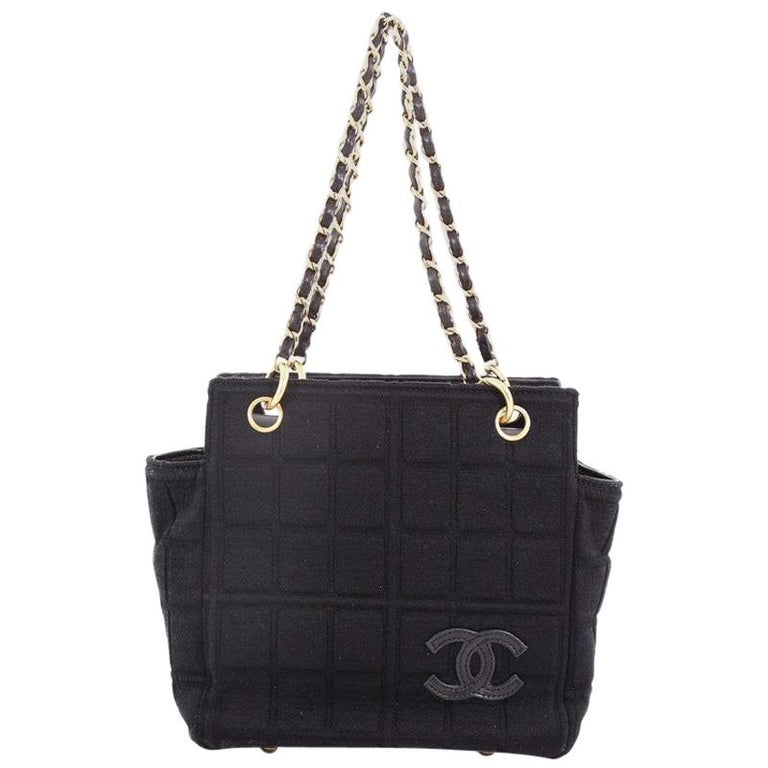 Chanel Chocolate Bar Chain Tote Quilted Canvas Small For Sale