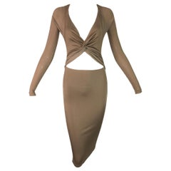2002 Gucci by Tom Ford Cut Out Gold Backless Wiggle Dress