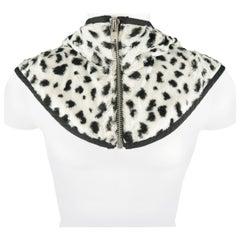COMME des GARCONS HOMME PLUS White & Black Spotted Faux Fur Hooded Zip Bib