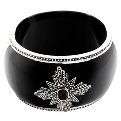 Miriam Salat Brown and White Topaz Medallion Cuff in Black Resin and Sterling Si